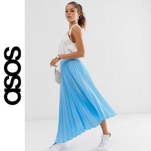 Asos Design Asymmetric Pleated Midi Skirt With God